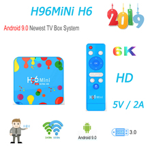 New Android 9.0 tv box smart tv H96 Mini H6 Quad Core 4G 128G 6K HD media player youtube boxes europe support iptv spain стоимость