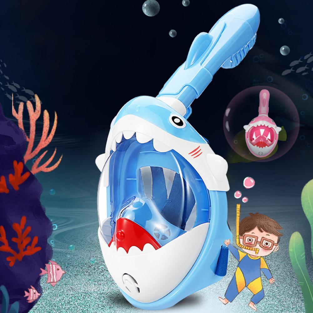 Kids Cartoon Shark Underwater Anti-Fog Snorkeling Mask Diving Swimming Equipment Snorkeling Mask Waterproof Anti-fog Collapsible