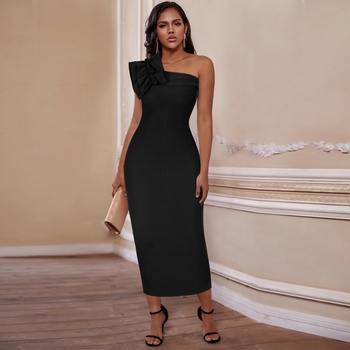 цена на Deer Lady Black Bandage Dress 2020 Party Ruffle Dress One Shoulder Midi Bandage Dress Bodycon Lace Celebrity Evening Dress