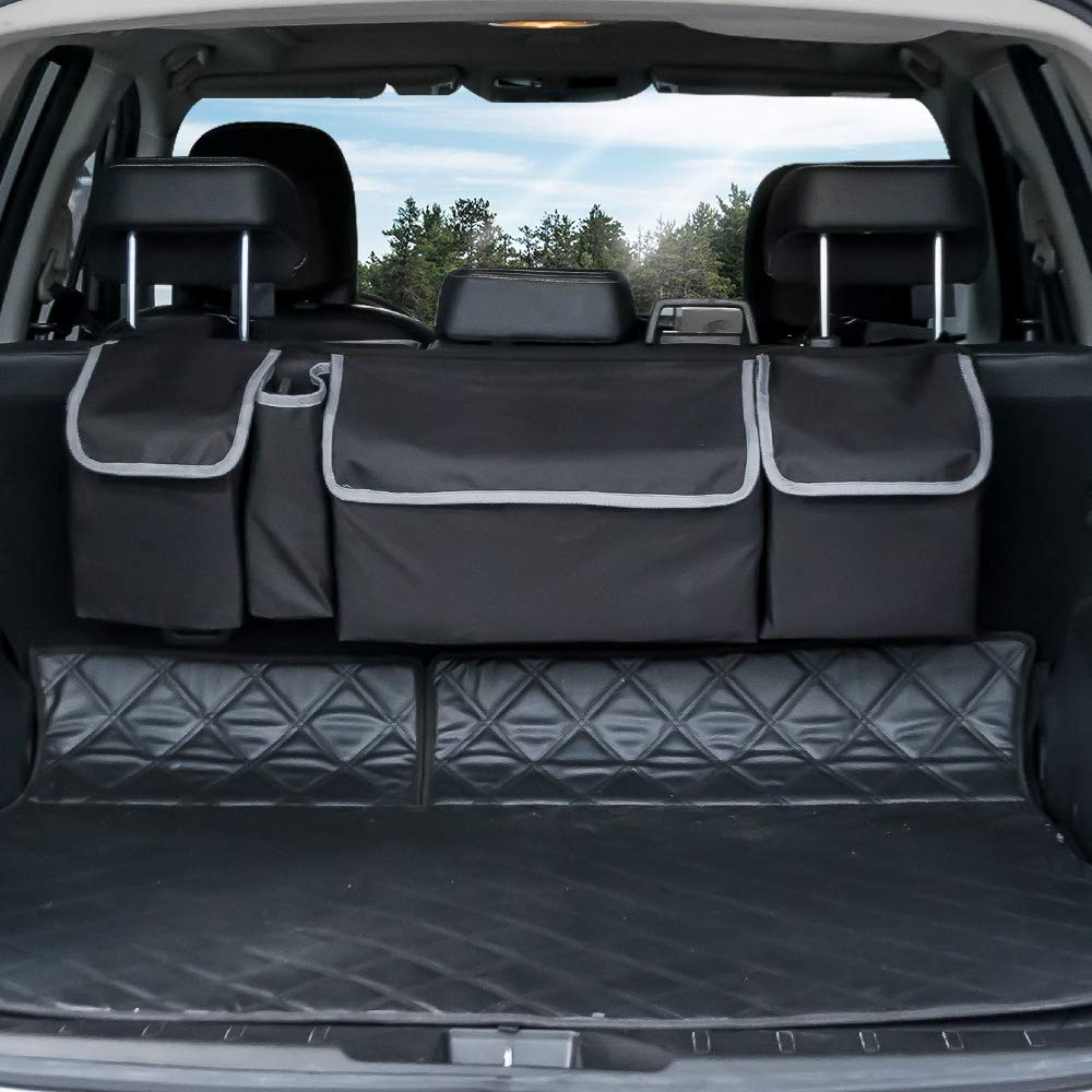 Large Capacity Oxford Fabric Car Trunk Seat Back Organizer Storage Bag Mesh Bag Car Seat Back Bag Red