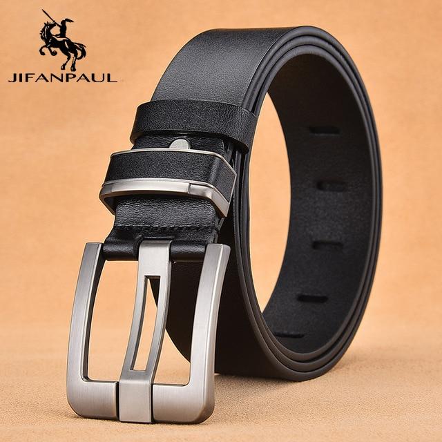 JIFANPAUL бренд подлинный мужской модный кожаный ремень сплав Материал Пряжка Бизнес Ретро Мужские джинсы дикие ремни высокого качества - Цвет: RT 3.8CM Black