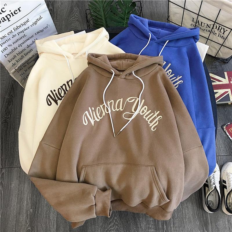 2020 Spring Hoodies Women Hooded Harajuku Thicker Plus Velvet Letter Printed Patchwork Leisure Girl Sweatshirts Womens Pullovers