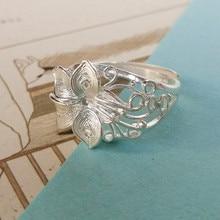 Flower 999 Sterling Silver Rings For Women Wedding Engagement Ring Adjustable Handmade Luxury Jewelry Boho Ethnic Jewellery