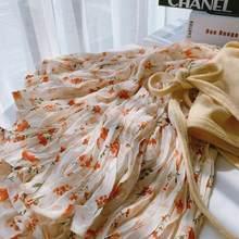 Falda de tul de gasa con flores párr mujer de falda peque?a de R67 cintura alta coreana... ajustada... versátil de longitud media