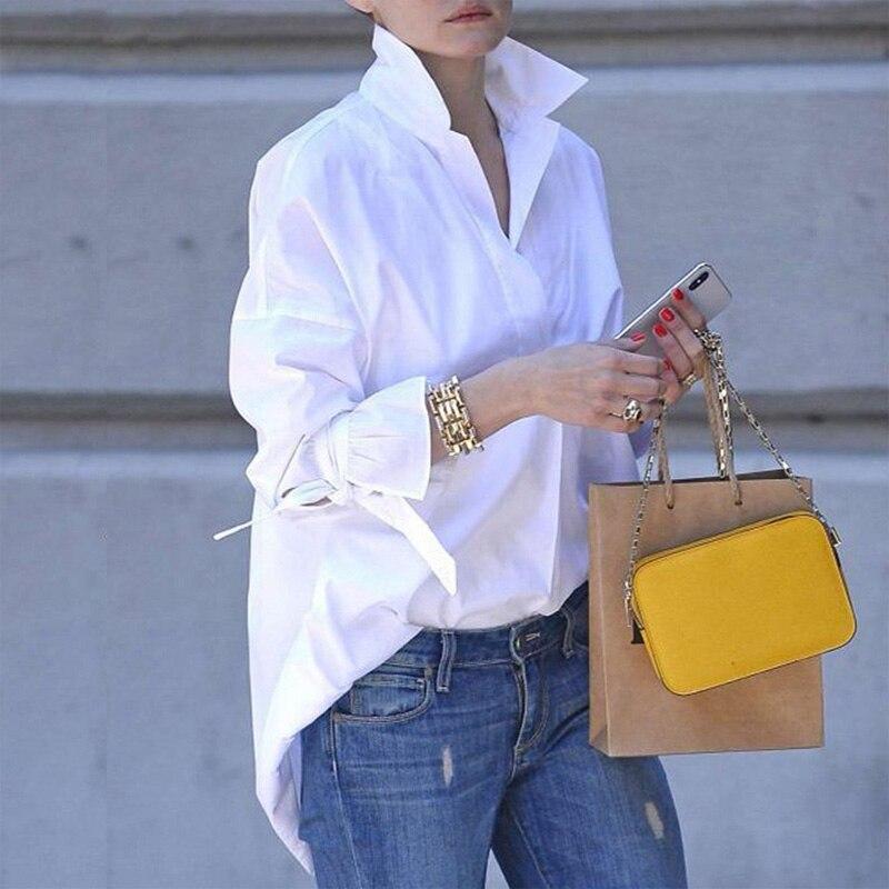 Camicia a maniche lunghe primavera camicia casual da donna camicia bavero 2020 camicetta con stampa tinta unita moda camicia taglie forti camicette donna