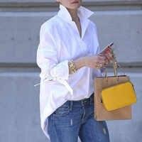 Frühling Langarm tops Frauen Casual shirt top Revers Hemd 2020 mode Plain Print Bluse Plus größe hemd tops blusen frauen