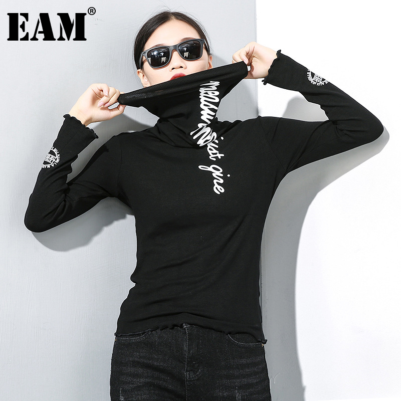 [EAM] Women Black Letter Printed Stitch Temperament T-shirt New Turtleneck Long Sleeve  Fashion Tide  Spring Autumn 2020 1Z835 1