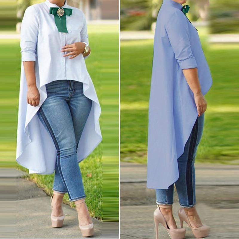 ZANZEA Women Asymmetric Tops Blusas Shirt 2020 Autumn Plus Size Lady Buttons Down Blouse Casual Loose Solid Tunic Blusas S-5XL 7