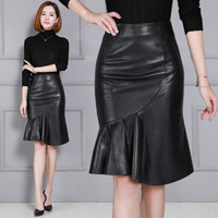 2020 Women New Real Genuine Sheep Leather Skirt K42