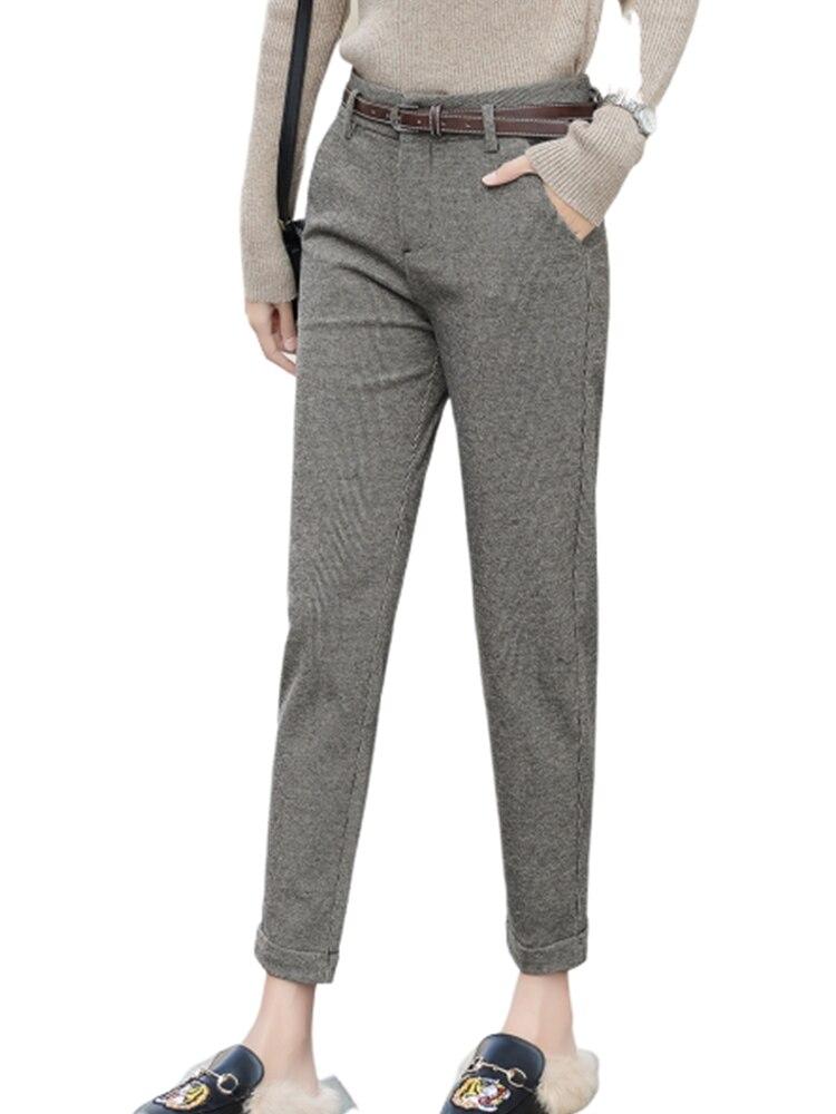 JUJULAND woman winter style harem  plaid pants High-end high-waisted england trousers 604