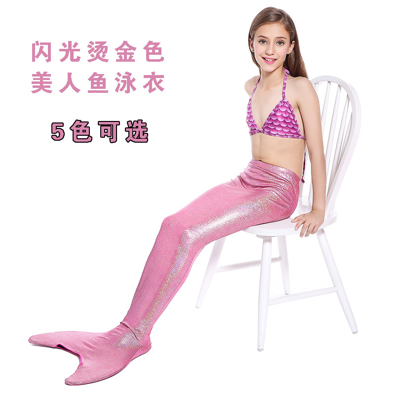 Currently Available Wholesale Girls 6 To 14-Year-Old Children Mermaid Bronze-Style Bathing Suit Foreign Trade Hot Selling Manufa