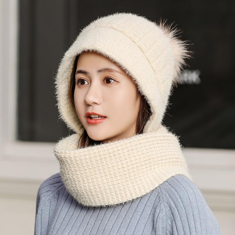 Image 5 - luxury Neck warm knitted winter hat for women girl Rabbit hair beanies Skullies velvet hat mask Bonnet Femme Balaclava scarf hat-in Women's Skullies & Beanies from Apparel Accessories