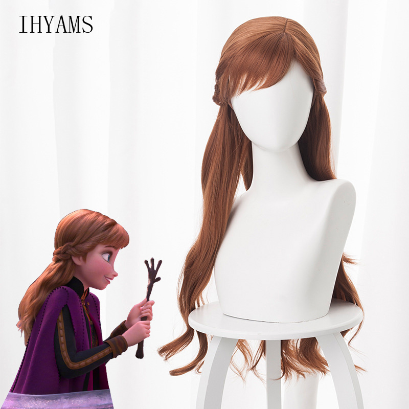 New Anime Princess Anna Cosplay Wig 70cm Long Curly Wavy Heat Resistant Synthetic Hair Brown Women Cosplay Costume Party Wig