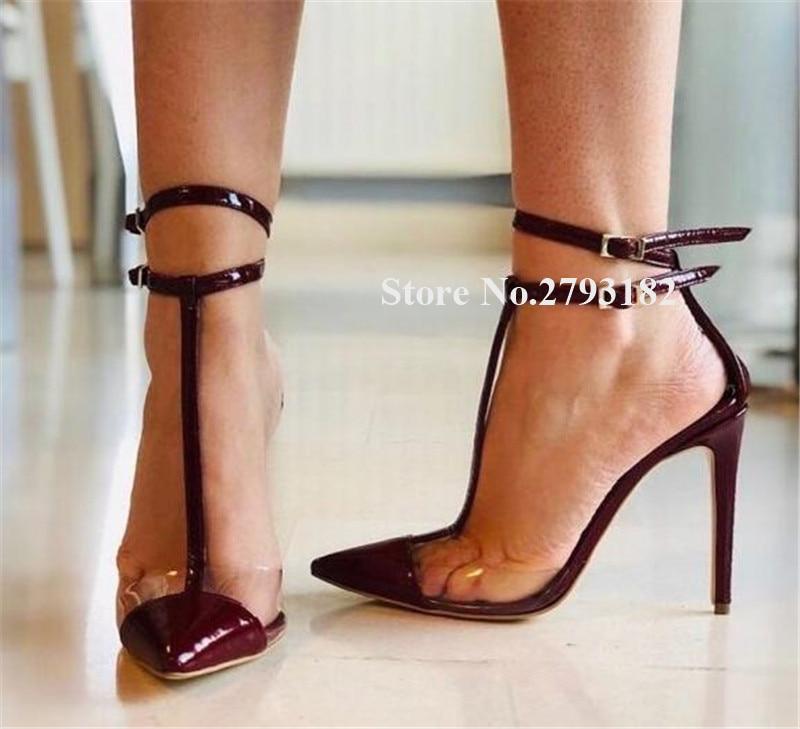 Créateur de mode bout pointu PVC Patchwork en cuir verni vin rouge talon aiguille pompes t-strap talons hauts chaussures de soirée