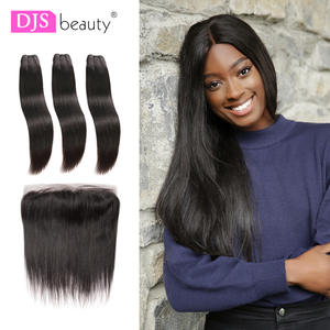 Djsbeauty Human-Hair-Bundles Closure Straight with Lace-Frontal Preplucked Virgin-Hair