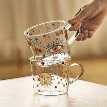 MDZF SWEETHOME-taza de cristal con diseño de ojo de sol, taza de café para el desayuno, para parejas, 500ml