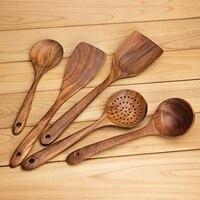 Holz Löffel  Holz Löffel für Kochen  5 stück Mehrweg Holz Küche Utensilien Set Werkzeuge für Kochen Antihaft Kochgeschirr-in Geschirr-Sets aus Heim und Garten bei