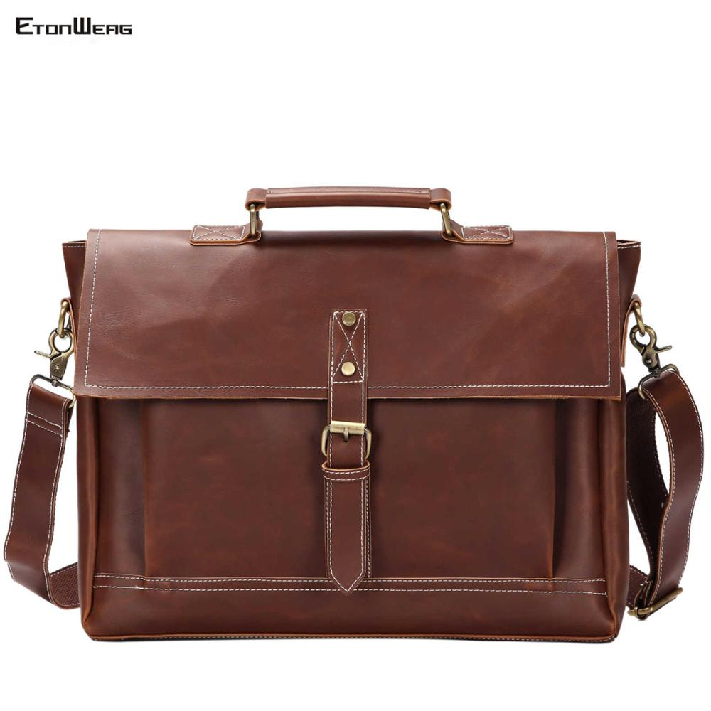 Men's Vintage Briefcase Brand PU Leather Handbag Business Office Messenger Bag Male Large Solid Shoulder Bag Casual Buckle Tote