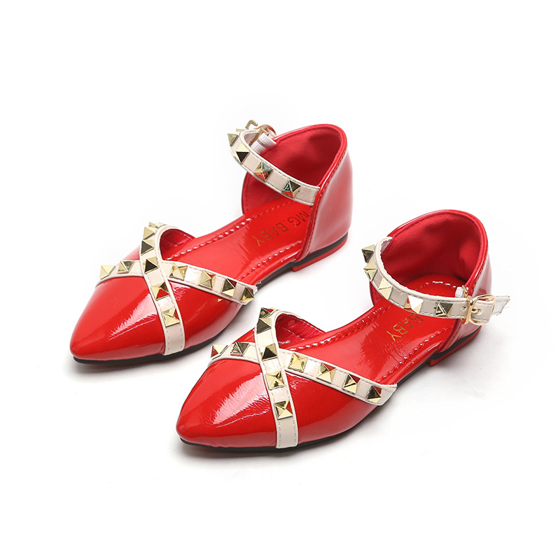 Baby Girl Toddler Kids Princess Sandals Rivet Buckle T-strap Flat Shoes Cute New