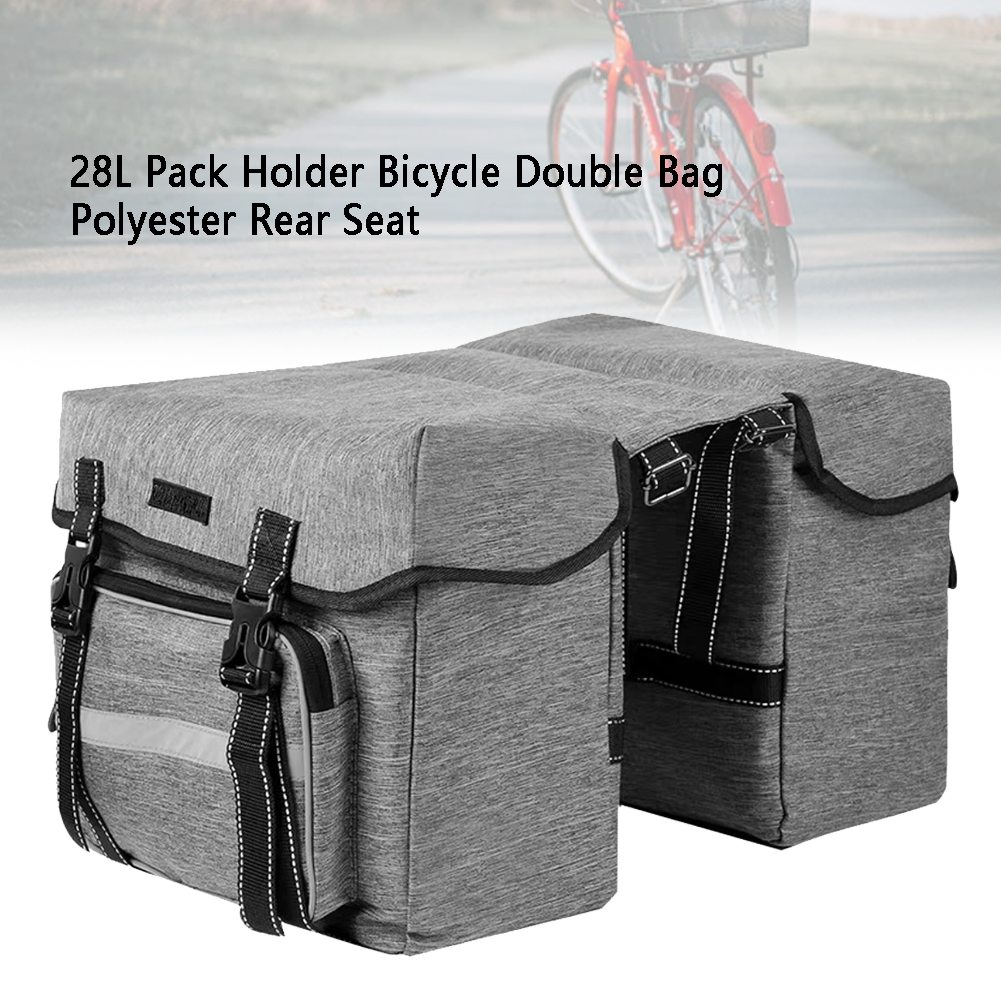 28L Saddle Rear Seat Polyester Storage Bicycle Double Bag Pannier Pack Universal Mountain Road <font><b>Bike</b></font> <font><b>Carrier</b></font> Holder <font><b>Accessories</b></font> image