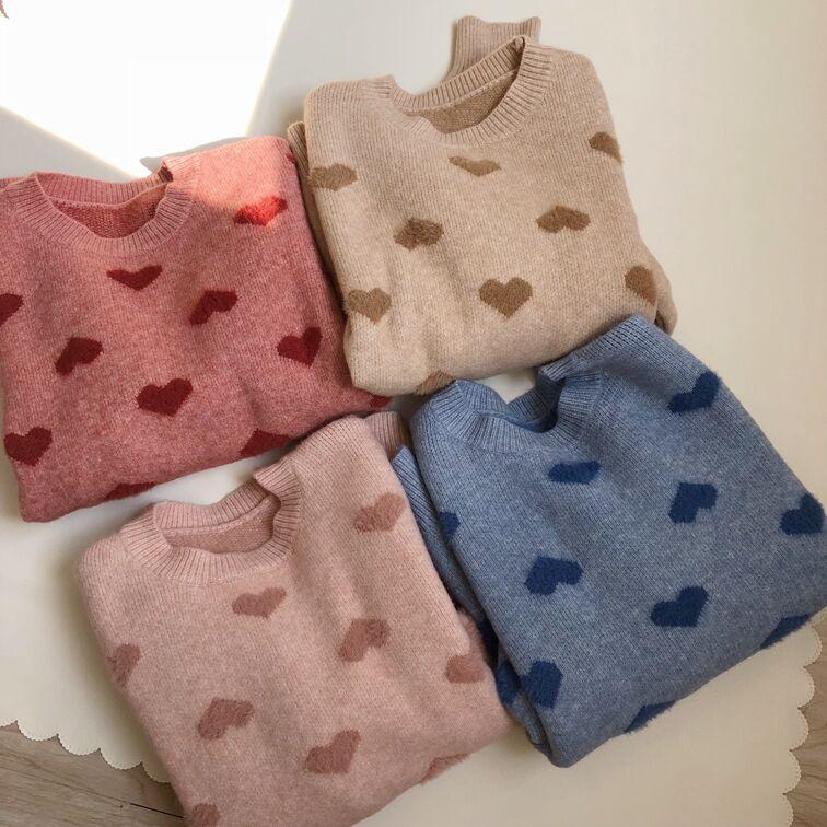 Women Knit Heart Sweater Sweet Japan Harajuku  Kawaii Streetwear Pullover Long Sleeve Outwear Soft Autumn Winter Wool Knit A19
