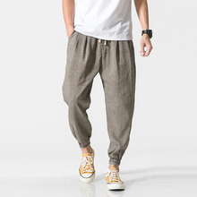 2020 New Brand Casual Harem Pants Men Jogger Pants Fitness Harem Linen Pants pantalon homme Loose Baggy Ankle-length Male Pant cheap Asstseries Full Length casual pants Hip Hop Flat Midweight Pockets Broadcloth REGULAR 28 - 40 Ankle-Length Pants Elastic Waist