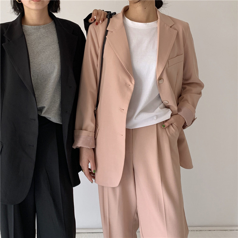 Mozuleva 2020 Spring Women Pant Suit Chic Loose 2 Pieces Set Single-breasted Notched Jacket & Straight Pant Female Blazer Suit