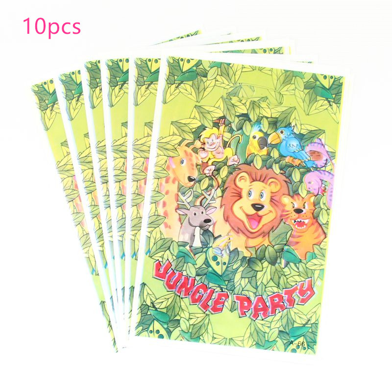 10pcs/lot Jungle Birthday Party Gift For Kids Loot Bags Zoo Safari Carnival Children's Day Gift Bag Animal Party Decoration Hot
