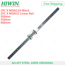 hiwin mgn12 400mm linear guide rail with mgn12c slide blocks stainless steel mgn 12mm kossel mini for cnc 3d printer parts original hiwin mgn12 300mm 350mm 400mm 12mm linear guide mgn12 with MGN12H sliding block for 3d printer