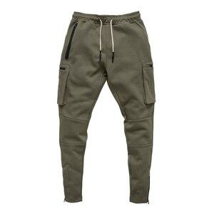 Image 3 - Męskie trening Fitness spodnie do biegania multi zip pocket Cargo Workout spodnie sportowe bawełniane męskie Gym Jogging taktyczne spodnie bojowe