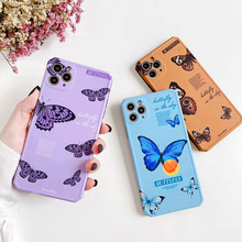 цена на Luxury Butterfly Blue Phone Case For iphone 11Pro Max Case XR XS MAX X 7 8 Plus Cute Butterfly Pattern Water Chestnut Soft Cover