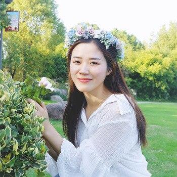 Blue Flower Hair Band Lace-up Head wear Wreath Headdress Wedding Hair Accessories Korean-Style Princess headband