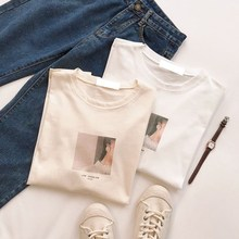 Harajuku Bf Style Character Print Women Beige T-Shirt Casual O-Neck Short Sleeve Pullover White Tops