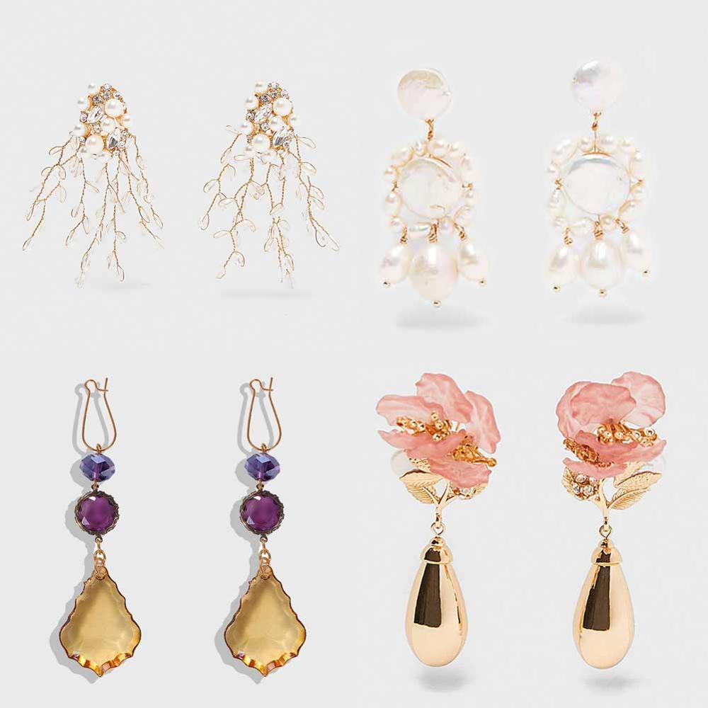 Best Lady Vintage ZA Multicolored Square Drop Earrings For Women Metal Dangle Shiny Christmas Gift Jewelry Trendy Bohemian Hot