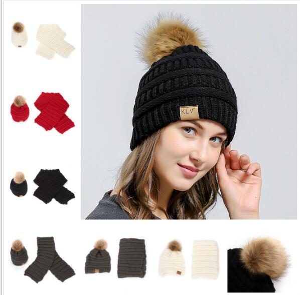 Winter Girls Knit Cotton Caps Beanie Warm Women Solid Color Hats Pompon Raccoon Fur Skullies Scarf, Hat & Scarf 2 Piece Sets