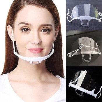 10 Pcs Work Wear Men Women Transparent Plastic Mask Chef Kitchen Service Masks  Earloop Breathable Adjustable Face Cover