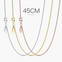 925 Sterling Silber Halskette Silber Rose Gold Klassische Karabinerverschluss Kette Halskette Geeignet für frauen DIY mit dekoration