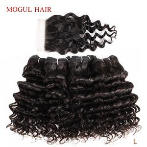 Image 1 - モーグル髪 4 バンドルと閉鎖ディープ波バンドル 50 グラム/ピースブラジル非レミー人毛ナチュラルカラーブラウンオンブル蜂蜜ブロンド