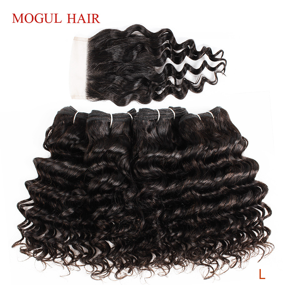 MOGUL HAIR 4 Bundles With Closure Deep Wave Bundles 50g/pc Brazilian Non-Remy Human Hair Natural Color Brown Ombre Honey Blonde