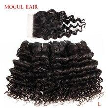 MOGUL HAIR 4 Bundles with Closure Deep Wave Bundles 50g/pc Brazilian Non Remy Human Hair Natural Color Brown Ombre Honey Blonde