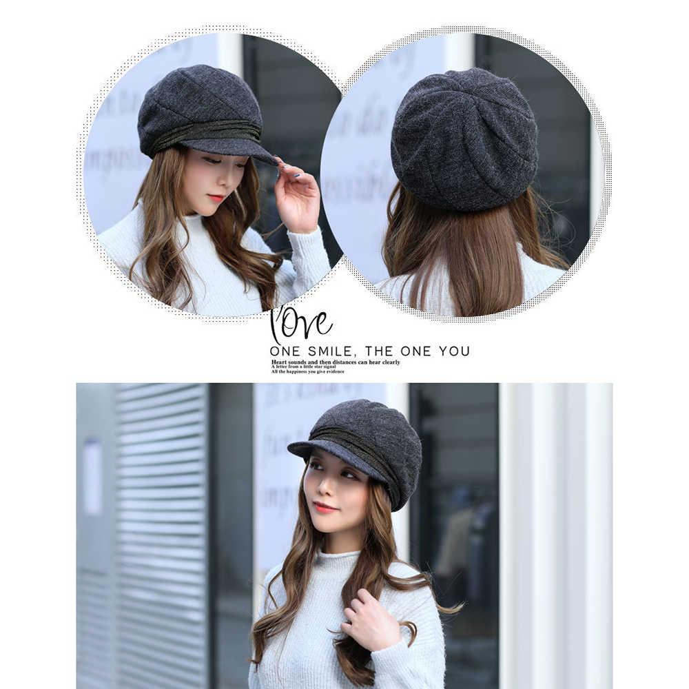 Пара вязаный берет шапка s Мода художника восьмиугольная шапка осенний берет для новорожденного открытый женская шляпа в стиле ретро для мужчин и женщин