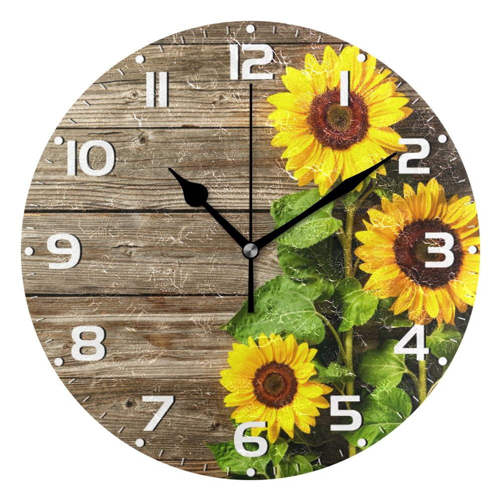 3D Sunflowers Vintage Wood Print Round Wall Clock Silent Wall Watch Battery Operated Quartz Analog Quiet Desk Clock For Home