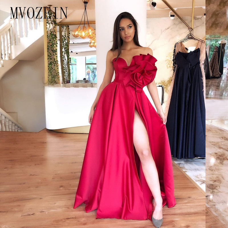 New Red Long Evening Dress Satin A-Line Sweetheart High Split Floor Length Formal Gowns Evening Party Dresses Vestidos