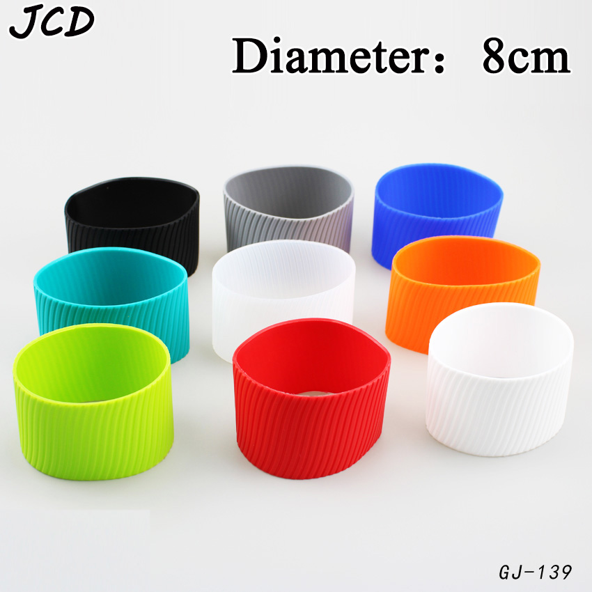 JCD 8cm Silicone Ceramic Cup Sleeves Coffee Mug Wraps Sleeves Recyclable Heat Proof Glass Water Cup Sleeves Cover Home Tools