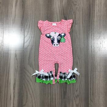 Letnie dziewczynek chłopców sukienka zestaw szortów Romper Farm Yard krowa różowy pasek ubrania dla dzieci Boutique bawełna mleko jedwabne kolano długość tanie i dobre opinie girlymax moda CN (pochodzenie) Z okrągłym kołnierzykiem Zestawy Pulower 820376 7 8 9 COTTON POLIESTER Dziewczyny SHORT