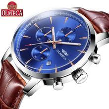 OLMECA Mens Watch Wristwatches  Fashion Luxury Quartz Relogio Masculino Chronograph Genuine Leather for Men
