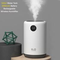Drahtlose Ultraschall-luftbefeuchter 500ML 2000mAh Tragbare Aroma Wasser Nebel Diffusor Batterie Lebensdauer Zeigen Aromatherapie Humidificador