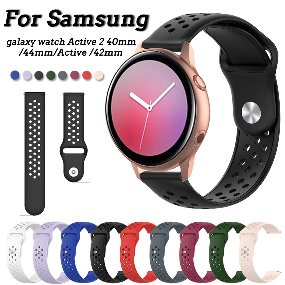 20mm Watch Strap For Samsung Galaxy Watch Active 2 40mm 44mm SM-R830 SM-R820 Gear S2 Sport 42mm Band Silicone Bracelet Watchband