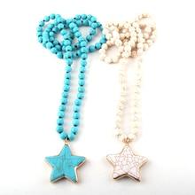 Fashion Bohemian Tribal Jewelry Turq/White Stone Long Knotted Pentagram Pendant Necklaces