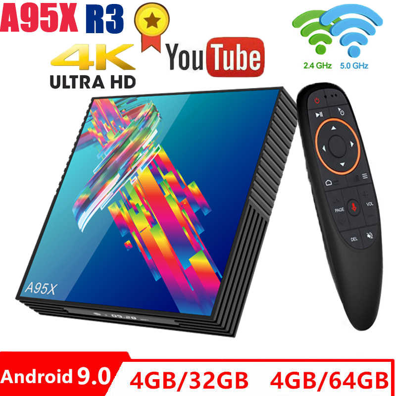 A95X R3 smart tv box android 9.0 Rockchip RK3318 2.4G/5G Wifi BT4.2 4GB 32GB/64GB Google Play IPTV box android tv box PK H96max